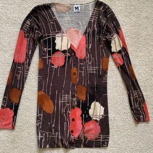 M MISSONI Brown Button Down Wool Blend Cardigan 42